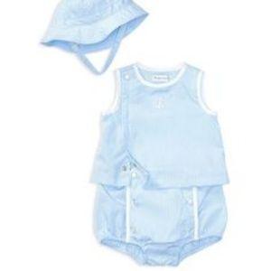  Ralph Lauren Baby Blue Tank, Bloomers & Hat Set